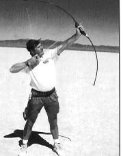 Mike Willrich shooting in the American longbow class, Nevada, 1999